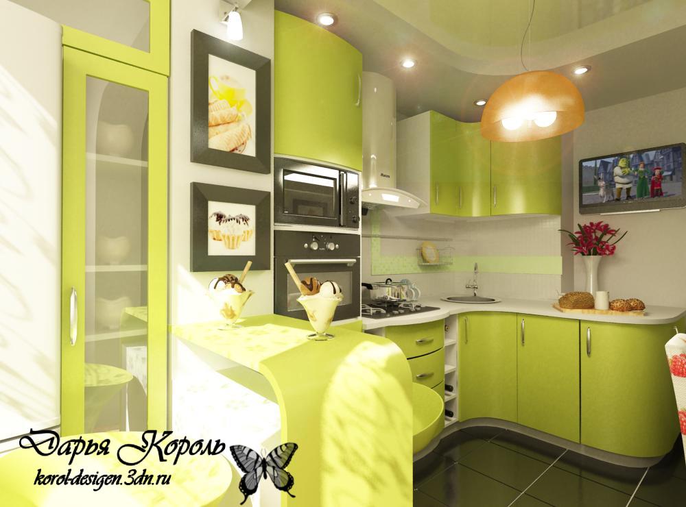 Дизайн фисташковых кухонь.