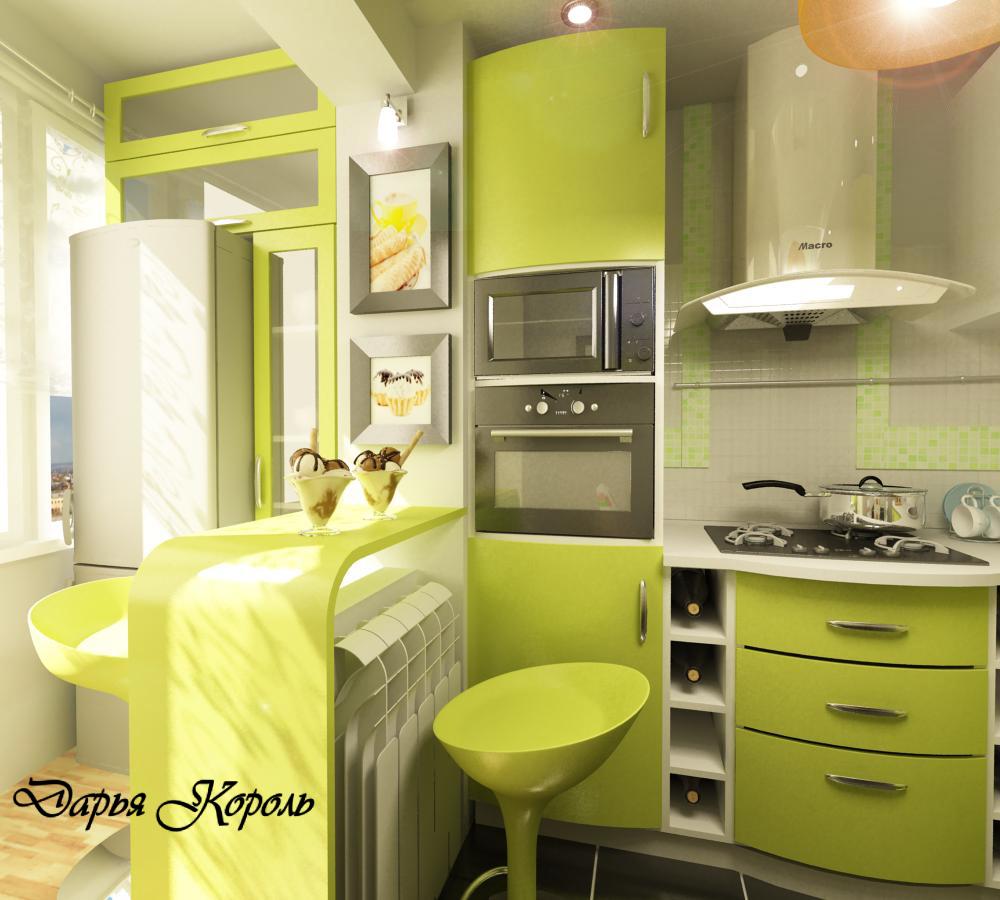 Фото дизайна маленькой кухни совмещенной с балконом.