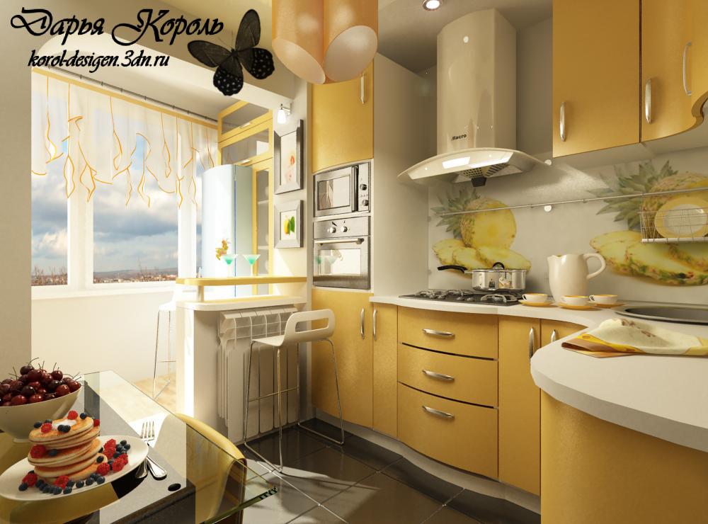 Дизайн кухни 9 метров с балконом.